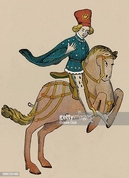 Geoffrey Chaucer s Canterbury Tales The Squire on horseback English poet c 13431400 Ellesmere manuscript of Canterbury Tales