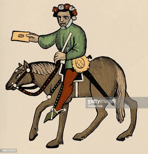 Geoffrey Chaucer s Canterbury Tales The Summoner on horseback English poet c 13431400 Ellesmere manuscript of Canterbury Tales