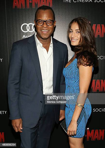 Geoffrey Fletcher and Lara Wolf attend The Cinema Society And Audi Host A Screening Of Marvel's 'AntMan' at SVA Theatre on July 13 2015 in New York...