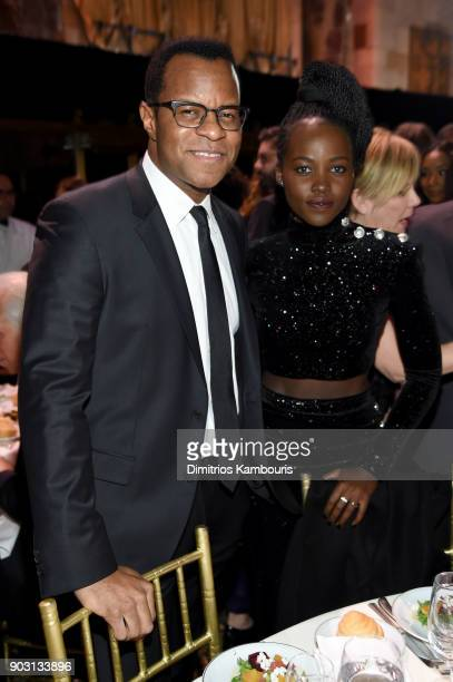 Geoffrey Fletcher and Lupita Nyong'o attend the The National Board Of Review Annual Awards Gala at Cipriani 42nd Street on January 9 2018 in New York...