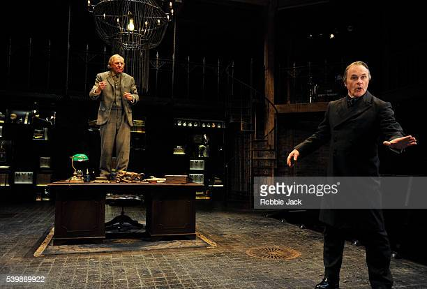 Geoffrey Freshwater as Ralph Trapdoor and David Rintoul as Sir Alexander Wengrave in the Royal Shakespeare Company's production of Thomas Dekker and...