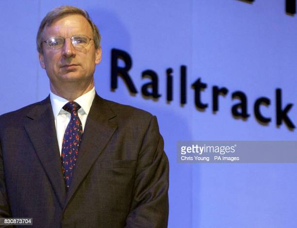 Geoffrey Howe Chairman of Railtrack at the Emergency General Meeting at Alexandra Palace on where members will vote on proposed disposal of Railtrack...