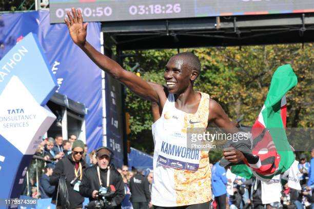 Geoffrey Kamworor celebrates a first place finish during the TCS New York City Marathon in Central Park on November 3 2019 in New York City