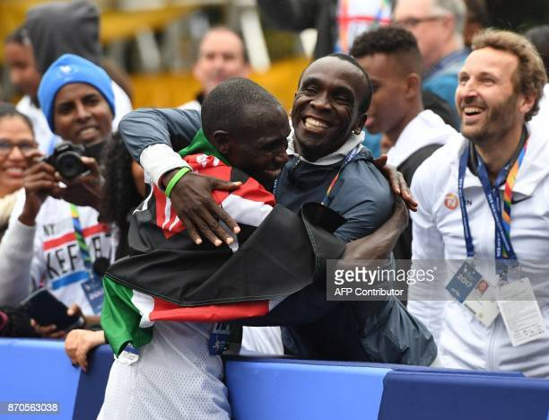 Geoffrey Kamworor of Kenya celebrates winning the Men's Division during the 2017 TCS New York City Marathon in New York on November 5 2017 Five days...
