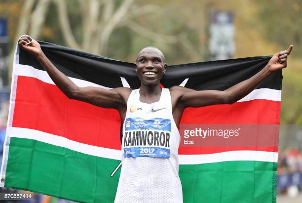 Geoffrey Kamworor of Kenya celebrates winning the Professional Men's Division during the 2017 TCS New York City Marathon in Central Park on November...