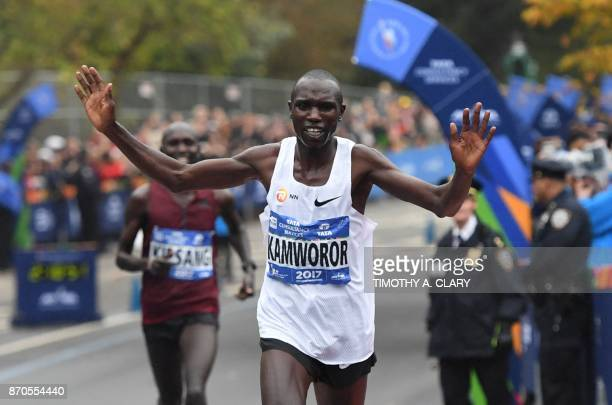 TOPSHOT Geoffrey Kamworor of Kenya crosses the finish line to win the Men's Division during the 2017 TCS New York City Marathon in New York on...