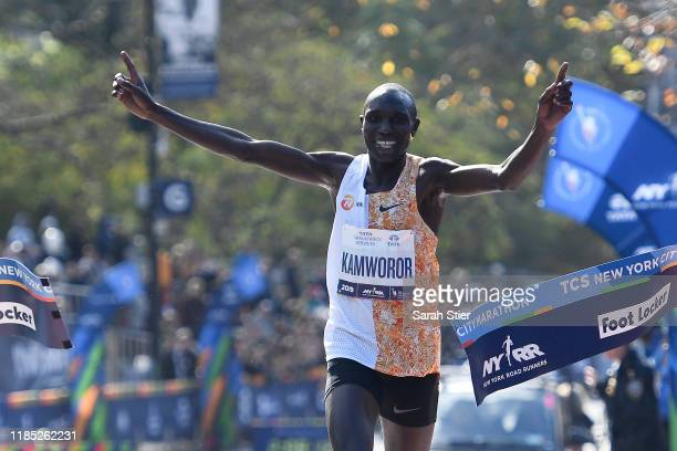 Geoffrey Kamworor of Kenya reacts after crossing the finish line to win the Men's Division of the 2019 TCS New York City Marathon on November 03 2019...