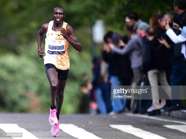 Geoffrey Kamworor of Kenya runs through Central Park before finishing first for the Pro Mens in the TCS New York City Marathon on November 03 2019 in...
