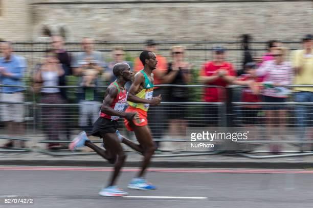 Geoffrey Kipkorir Kirui and Tamirat Tola at IAAF World Championships Man Marathon in London UK on August 6 2017 42 kilometre run took place in most...