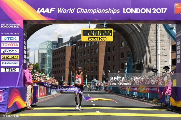 Geoffrey Kipkorir Kirui of Kenya celebrates as he wins the Men's Marathon during day three of the 16th IAAF World Athletics Championships London 2017...