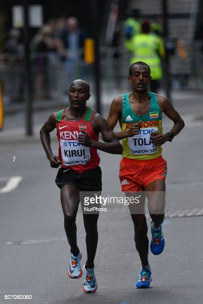 Geoffrey KipkorirKIRUI Kenya and TamiratTOLA Ethiopia during marathon in London on August 6 2017 at the 2017 IAAF World Championships athletics