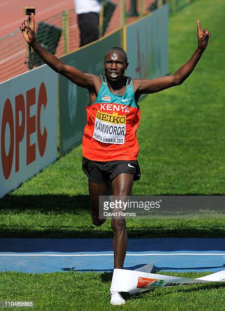 Geoffrey Kipsang Kamworor celebrates victory in the Junior Men's race during the 39th Iaaf World Cross Country Championships March 20 2011 in Punta...
