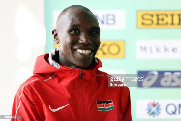 Geoffrey Kipsang Kamworor of Kenya attends a press conference ahead of the IAAF World Cross Country Championships on March 29 2019 in Aarhus Denmark