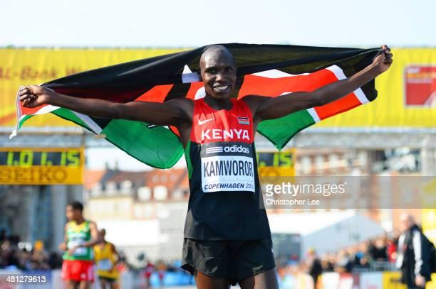 Geoffrey Kipsang Kamworor of Kenya celebrates winning the Men's Half Marathon during the IAAF/AlBank World Half Marathon Championships on March 29...