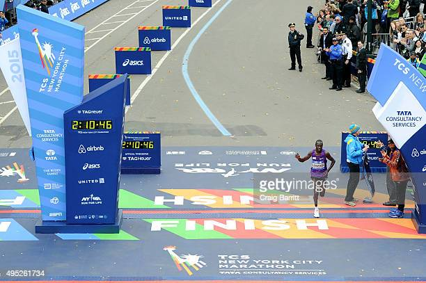 Geoffrey Kipsang Kamworor of Kenya crosses the finish line in 2nd place in the Pro Men's division at TAG Heuer Official Timekeeper and Timepiece of...
