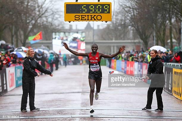 Geoffrey Kipsang Kamworor of Kenya crosses the line to win the Men's Half Marathon during the IAAF/Cardiff University World Half Marathon...