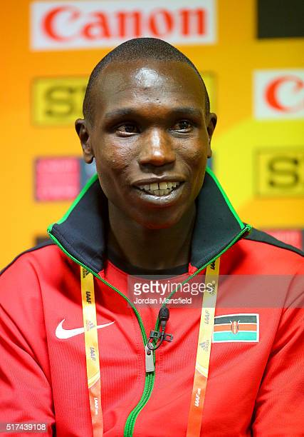 Geoffrey Kipsang Kamworor of Kenya talks during a press conference ahead of the IAAF/Cardiff University World Half Marathon Championships Previews at...