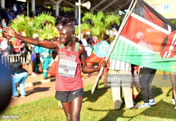 Geoffrey Kipsang of Kenya celebrates after winning men's race during the 27th World Cross Country Championships organized by International...