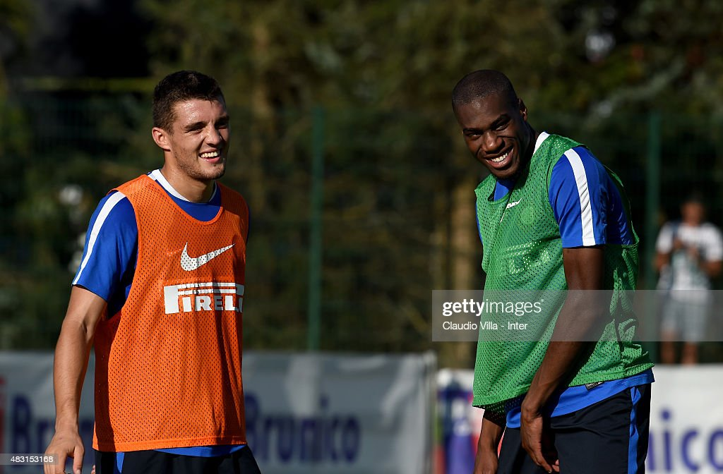 Geoffrey Kondogbia and Mateo Kovacic (L) smile during a FC Internazionale training session on August 6, 2015 in Bruneck, Italy.