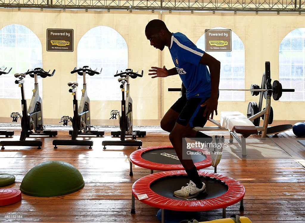 Geoffrey Kondogbia in action during a FC Internazionale training session on August 6, 2015 in Bruneck, Italy.