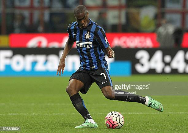 Geoffrey Kondogbia of FC Internazionale Milano in action during the Serie A match between FC Internazionale Milano and Udinese Calcio at Stadio...