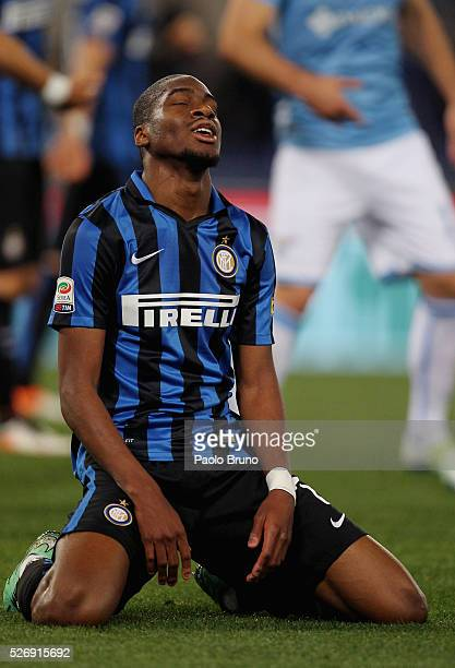 Geoffrey Kondogbia of FC Internazionale Milano reacts during the Serie A match between SS Lazio and FC Internazionale Milano at Stadio Olimpico on...
