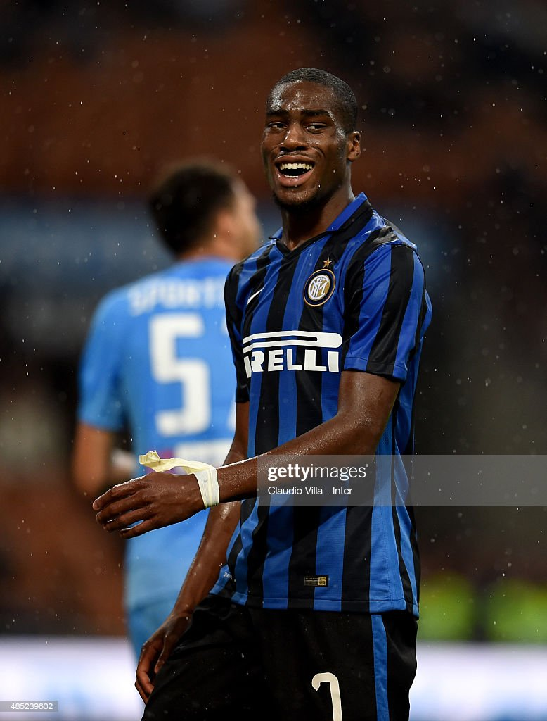 Geoffrey Kondogbia of FC Internazionale reacts during the Serie A match between FC Internazionale Milano and Atalanta BC at Stadio Giuseppe Meazza on August 23, 2015 in Milan, Italy.