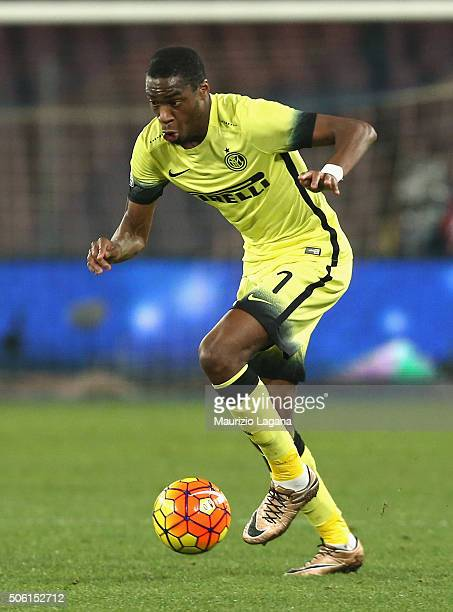 Geoffrey Kondogbia of Inter during the TIM Cup match between SSC Napoli and FC Internazionale Milano at Stadio San Paolo on January 19 2016 in Naples...
