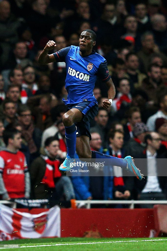 Geoffrey Kondogbia of Monaco celebates after scoring the opening goal during the UEFA Champions League round of 16, first leg match between Arsenal and Monaco at The Emirates Stadium on February 25, 2015 in London, United Kingdom.