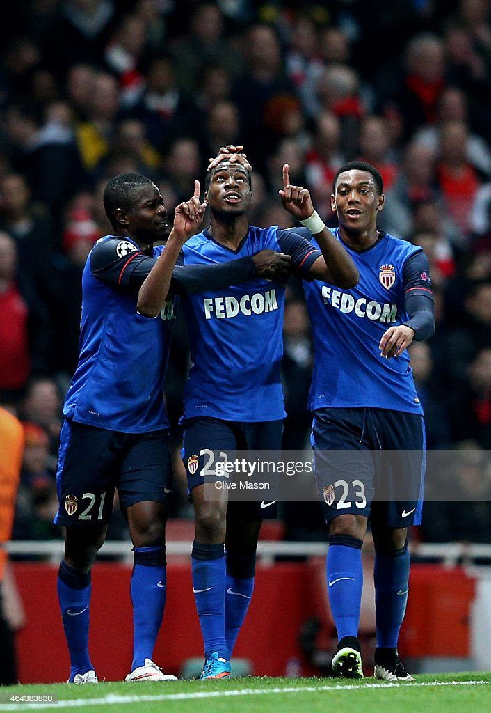 Geoffrey Kondogbia #22 (C) of Monaco celebates with teammates after scoring the opening goal during the UEFA Champions League round of 16, first leg match between Arsenal and Monaco at The Emirates Stadium on February 25, 2015 in London, United Kingdom.