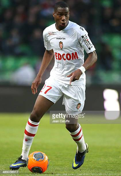 Geoffrey Kondogbia of Monaco in action during the French Ligue 1 match between Stade Rennais FC and AS Monaco FC at Stade de la Route de Lorient on...
