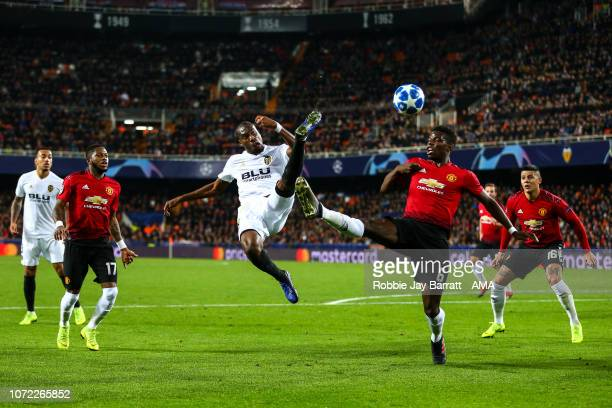 Geoffrey Kondogbia of Valencia and Paul Pogba of Manchester United during the UEFA Champions League Group H match between Valencia and Manchester...