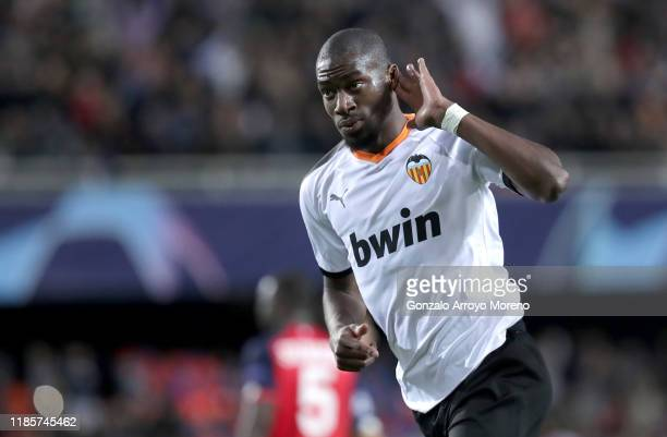 Geoffrey Kondogbia of Valencia celebrates after scoring his team's third goal during the UEFA Champions League group H match between Valencia CF and...