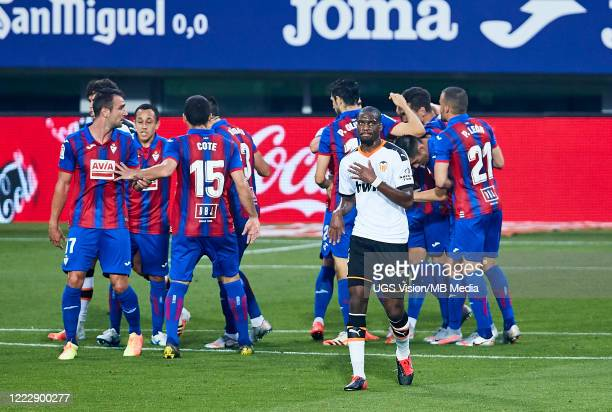 Geoffrey Kondogbia of Valencia CF looks dejected after scoring an own goal during the Liga match between SD Eibar SAD and Valencia CF at Ipurua...