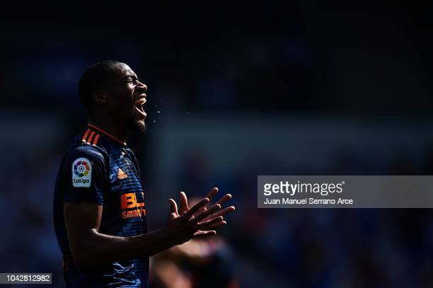 Geoffrey Kondogbia of Valencia CF reacts during the La Liga match between Real Sociedad and Valencia CF at Estadio Anoeta on September 29 2018 in San...