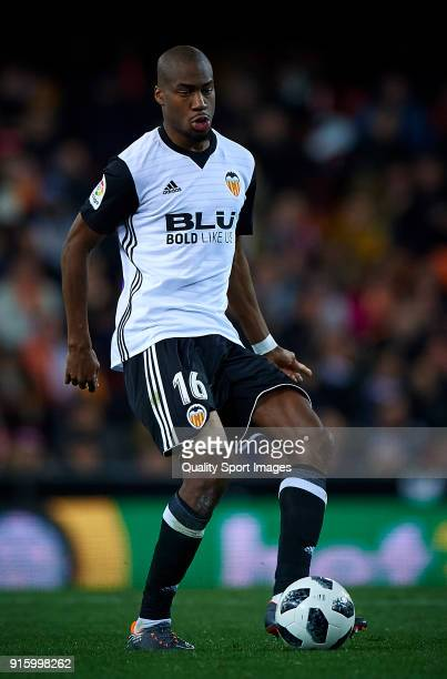 Geoffrey Kondogbia of Valencia in action during the Semi Final Second Leg match of the Copa del Rey between Valencia CF and FC Barcelona on February...