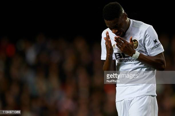 Geoffrey Kondogbia of Valencia lament a failed occasion during the La Liga match between Valencia CF and Real Madrid CF at Estadio Mestalla on April...
