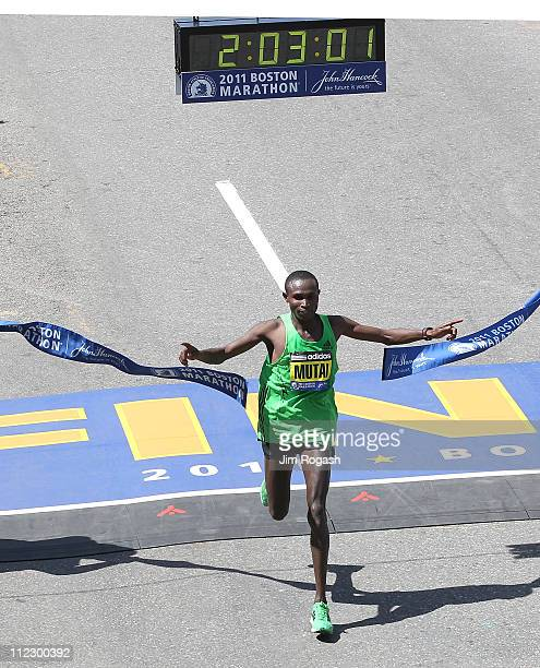 Geoffrey Mutai of Kenya wins the men's division of the 115th running of the Boston Marathon on April 18 2011 in Boston Massachusetts