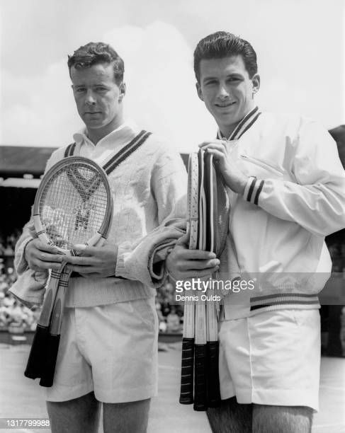 Geoffrey Owen of Great Britain and Ashley Cooper of Australia pose for a photograph before their Men's Singles First Round match of the Wimbledon...