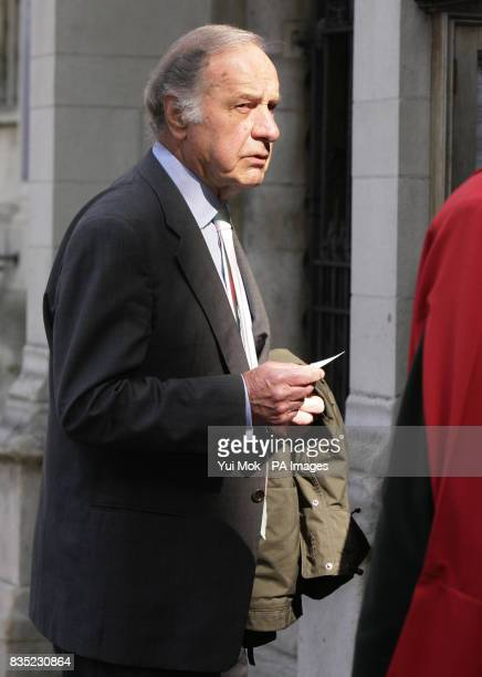 Geoffrey Palmer arriving at a Service of Thanksgiving for the life of Paul Scofield at St Margarets Church in Westminster in central London