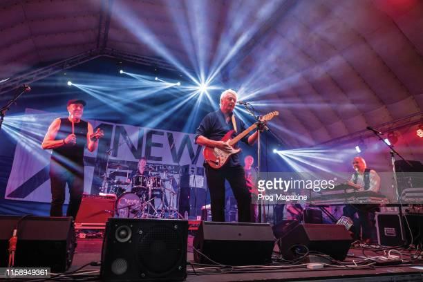 Geoffrey Richardson Mark Walker Pye Hastings Jim Leverton and Jan Schelhaas of English progressive rock group Caravan performing live on stage during...