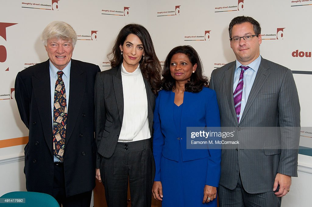 Geoffrey Robertson QC, Amal Clooney, Laila Ali and Jared Genser attend a press conference regarding the detention of Mohamed Nasheed, President of the Maldives at Doughty Street Chambers on October 5, 2015 in London, England. Clooney is part of an international legal team seeking to release Maldivian President Mohamed Nasheed after he was was jailed for 13 years. The UN have found Nasheed's detention in violation of international Law.