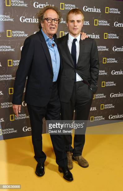 Geoffrey Rush and Johnny Flynn attend the London Premiere of the National Geographic Channel's 'Genius' at the Cineworld Haymarket on March 30 2017...