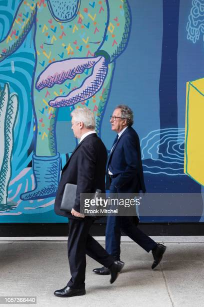 Geoffrey Rush arrives at the New South Wales Supreme Court on November 5 2018 in Sydney Australia Geoffrey Rush is suing The Daily Telegraph for...