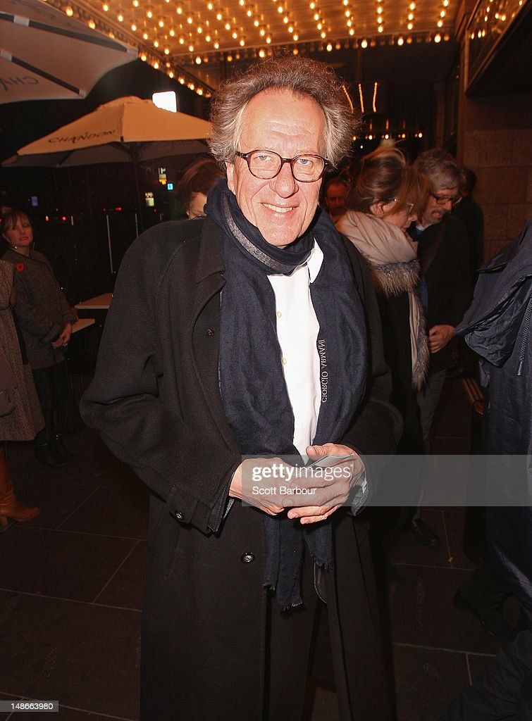 Geoffrey Rush arrives at the opening night of Barry Humphries' Eat, Pray, Laugh show show at Her Majestys Theatre on July 19, 2012 in Melbourne, Australia.