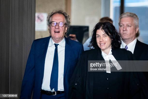 Geoffrey Rush arrives with his legal council at the New South Wales Supreme Court on November 5 2018 in Sydney Australia Geoffrey Rush is suing The...