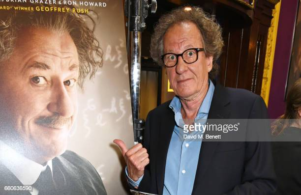 Geoffrey Rush attends the London Premiere of the National Geographic Channel's 'Genius' at the Cineworld Haymarket on March 30 2017 in London United...