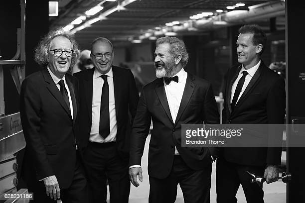 Geoffrey Rush Bruce Davey Mel Gibson and Paul Currie share a joke backstage during the 6th AACTA Awards Presented by Foxtel at The Star on December 7...