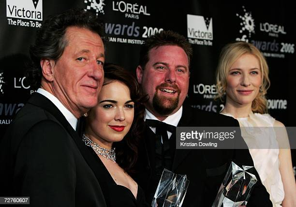 Geoffrey Rush Emily Barclay Shame Jacobson and Cate Blanchett pose backstage at the L'Oreal Paris 2006 AFI Awards at the Melbourne Exhibition Centre...