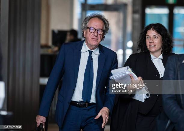 Geoffrey Rush exits the Supreme Court of New South Wales on November 5 2018 in Sydney Australia Geoffrey Rush is suing The Daily Telegraph for...